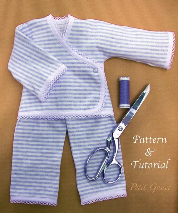 Jersey-Puppe Pyjamas PDF Nähen Muster & Tutorial