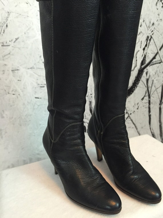 Vintage Cole Hahn Nike Air Knee High Boots Ladies US 7 1/2 Black Leather 3  1/2 Inch Heels Great Vintage Condition GORGEOUS!