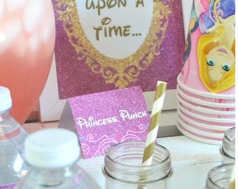 "Disney Princess ""Food"" Sign Labels // INSTANT DOWNLOAD // Party Decor // Printable, Digital"