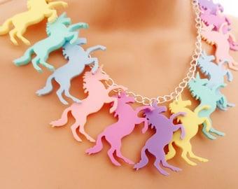 Pastel unicorn charm necklace
