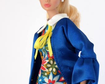Cobalt blue satin coat for Poppy Parker / Model Muse, Made to Move, New Silkstone or Pivotal Barbie