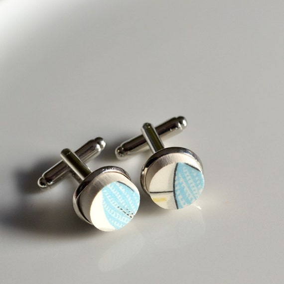 Broken China Silver Plated Cuff Links - Turquoise