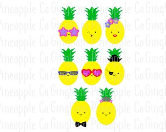 Cute Silly Pineapples Svg