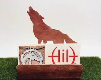 Wolf Business Card Holder, Copper Desk Accessory, Howling Wolf gift, gift for wolf lover, wolf items, wolf gift Canis lupus
