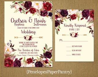 Romantic Ivory Fall Wedding Invitation,Burgundy,Marsala,Blush,Roses,Floral Arrow,Rustic,Printed Invitation,Wedding Set,Ivory Envelopes