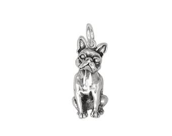 Boston Terrier Charm Jewelry Sterling Silver Handmade Dog Charm DO11-C