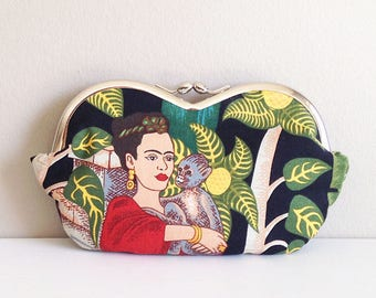 Frida Kahlo holding her monkey, a sunglass case, large sunglasses case, eyeglasses case, eyeglass case, coin purse, small clutch