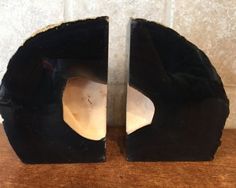Geode Bookends with Gold Backs