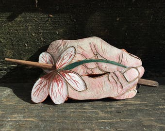 Hand Painted Hand Flower Barrette, Painted Barrette, Hair Pin, Hair Stick, Bamboo, Scrap Leather, Morbid, Corpse, Painted Hand,Creepy Hand