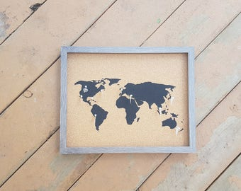 Traveler's Journey Pin Map - Charcoal Wood - LARGE