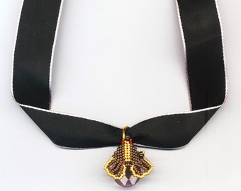 Beadwoven Moth Choker Necklace . Bronze and Gold Insect Beadwork . Butterfly/ Moth Pendant - Black Silk Choker by enchantedbeads on Etsy