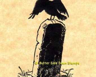Tombstone Raven Halloween Rubber Stamp