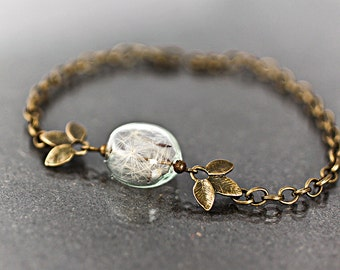 REAL DANDELION bracelet- delicate blown glass lense with real dandelion seeds in bronze leaves and bronze chain.