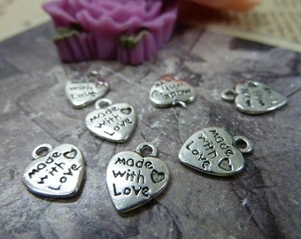 30 Made With Love Heart Charms 2 Sided Antique Silver Pendant Bracelet Earrings Zipper Pulls Key chains (YT275)