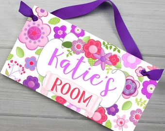 Pink and Purple Flowers Floral Personalized Girls Bedroom Baby Nursery DOOR SIGN Wall Art