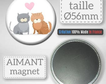 Magnet-magnet Badge 56 mm - cat lover heart Couple Cats Love Valentines Day gift