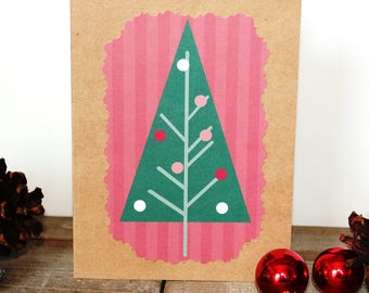 Handmade Christmas Card, Modern Christmas Tree, Red White Green,  Stripes, Brown Craft Paper, One of a Kind, Blank Inside, Free US Shipping