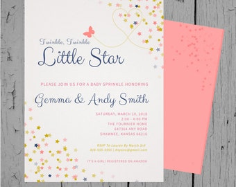 Twinkle, Twinkle Little Star Baby Shower Invitation - Butterflies and Stars - Pink, Navy, Gold - Baby Sprinkle