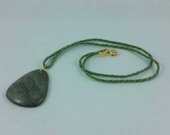 Necklace: green stone pendant on braided silk cord; gift for her