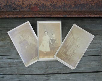 Victorian Carte de Visite Photograph Three Calling Cards Vintage Mother and Children Photos CDV Paper Ephemera