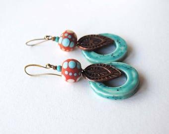 Leaf Earrings, Ceramic Earrings, Lampwork Bead Earrings, Boho Chic Earrings, Orange Turquoise Earrings, Southwestern Colors, Artisan