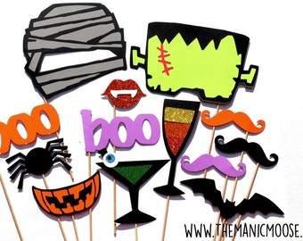 Halloween Photo Booth Props - Halloween Party Props - 13 piece set - GLITTER  Photobooth Props Party