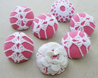 Fabric Covered Buttons -  Vintage Crochet - 7pc