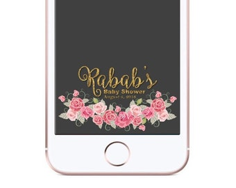 Pink Flowers Shower Decor Geofilter - Snapchat Shower filter - Baby Shower Snapchat Filter - Personalized Baby Shower  - Digital File ONLY