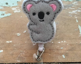 Koala bear ID badge reel holder retractable clip