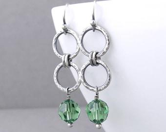 Simple Green Earrings Silver Drop Earrings Silver Circle Earrings Modern Silver Jewelry Gift for Women - Akira