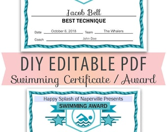 Editable PDF Sports Team Swim Swimming Certificate Award Template Letter Size diy Instant Download