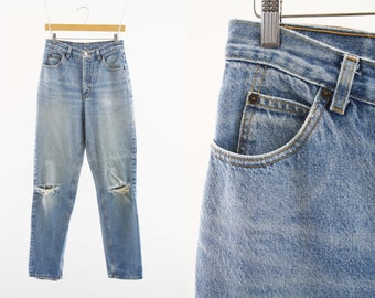 29 X 33 Vintage Made in USA High Waist Tapered Leg Distressed Knee Holes Woman's Retro Calvin Klein Mom Jeans