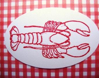 Lobster Stickers Envelope Seals Lobster Boil Seafood Bake Maine Coastal Beach Wedding Cardstock Labels Food Sticker