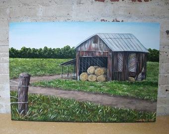 "Original acrylic farm barn landscape painting on 24x30"" gallery wrapped canvas, wall art, field, hay bells, dirt path, old rusty barn"