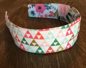 Comfortable Headband-- Washable, reversible-- On Trend floral & triangles with metalic gold