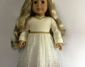 """Golden party dress fits 18"""" American girl dolls and dolls similar to size"""
