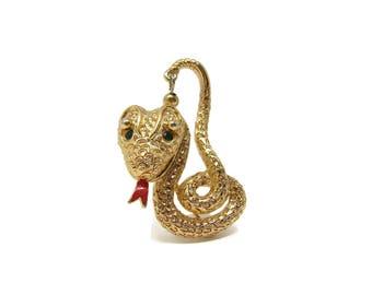 Vintage MONET Cobra Snake Brooch, Green Rhinestone Eyes, Gold Tone, Enamel Tongue, 1960's Jewelry, Snake Pin