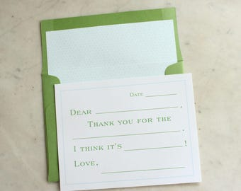 fill in the blank notecards / thank you cards for boys -- kelly green and aqua