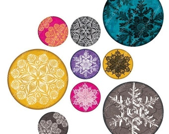 Snowflakes, 1 Inch Circles, Digital Collage Sheet, Download and Print Jpeg  Clip Art Images