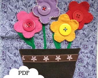 Button Flowers Quiet Book Page PDF Pattern|  PDF | Quiet Book | Felt Busy Book | Toddler book | Activity Book | Fabric quiet book