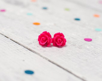 Hot Pink Rose Earrings | Nickel Free Studs | Bright Pink Jewellery | Hen Party Gift