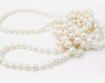 Vintage 64 Inches Long Knotted 8MM Freshwater Pearl Single Strand Necklace beautiful Pearlescent Luster