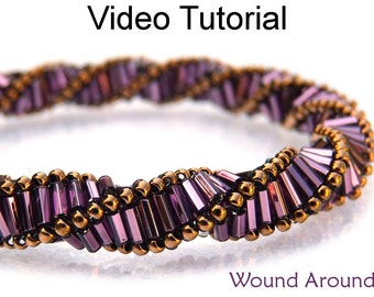 Tutorial Pattern Bracelet Necklace Beading Beaded Triple Helix Bugles Beginner Beading Jewelry Making Spiral Spiral Stitch Beads #9658