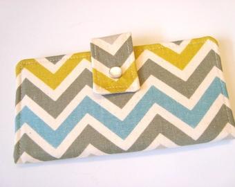 Bi Fold  Wallet Clutch Checkbook Cover  Cash Wallet - Summerland - Gray,Blue,Mustard Chevron / Zig Zag