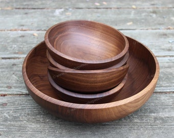 Set #217-221 Black Walnut Salad Bowl Set, Hand Turned Wooden Bowls, Food Safe, Walnut Large Wood Serving Bowl with Four Small Salad Bowls
