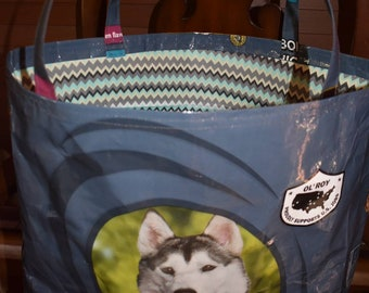 Recycled feed sack tote with a chevron liner to be used as a purse/tote/bag/reusuable shopping/grocery bag/husky/dog