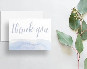 Watercolor Calligraphy Thank You Cards / Pale Periwinkle Pale Blue Watercolor / Thank You Notes / Printed Folded Thank You Cards