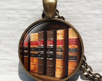 Shabby Bookshelf necklace, book pendant book jewelry book jewellery librarian gift book lover gift book necklace, antique book pendant