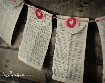 Vintage Dictionary Paper Heart garland - Dictionary Banner - Dictionary Garland - Dictionary Paper Banner - Vintage Book Paper Banner