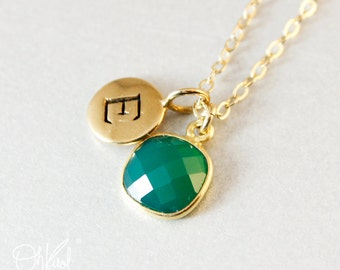 Gold Green Onyx Necklace - Initial Necklace - May Birthstone Necklace
